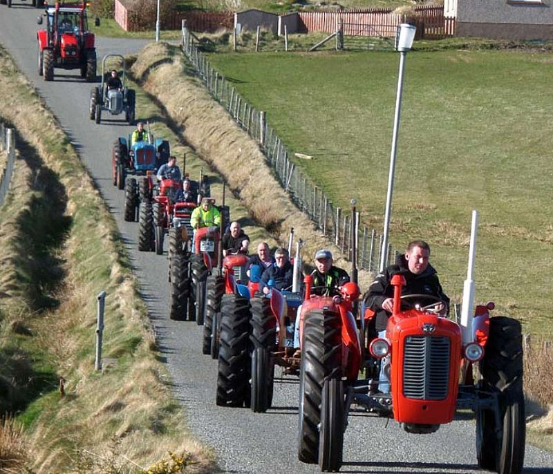 Charity tractor run in Ness. Photo courtesy of Fios Nis